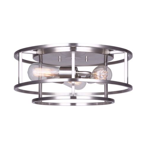Luca Brushed Nickel Three-Light Flush Mount - Finish: Brushed Nickel - Canopy Size: 11 Inches - Lamping: 3 x 60 W Bulbs (Not Included) - One Year Limited Manufacturer Warranty Canarm - IFM757A16BN | Canarm IFM757A16BN Luca Three-Light Flush Mount in Brushed Nickel - Brushed, Contemporary & Modern | Bellacor
