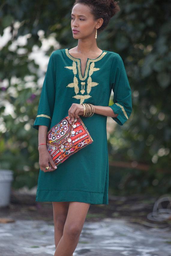 a62ad2ae93 Green Kaftan Dress, Boho Short Caftan Loose Dress, Long sleeves, Emerald  Green Gold