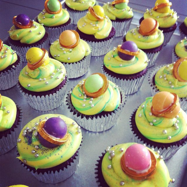 cupcakes - solar system cut gum balls in 1/2 and place ...