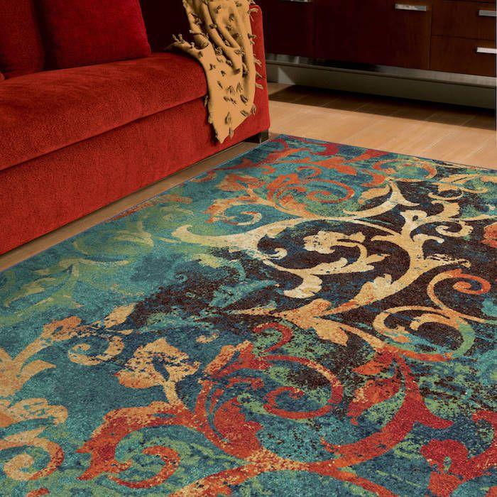Teppich Türkis Grau Idee Bunte Ausführung Teppich Im Wohnzimmer Rotes Sofa  Idee