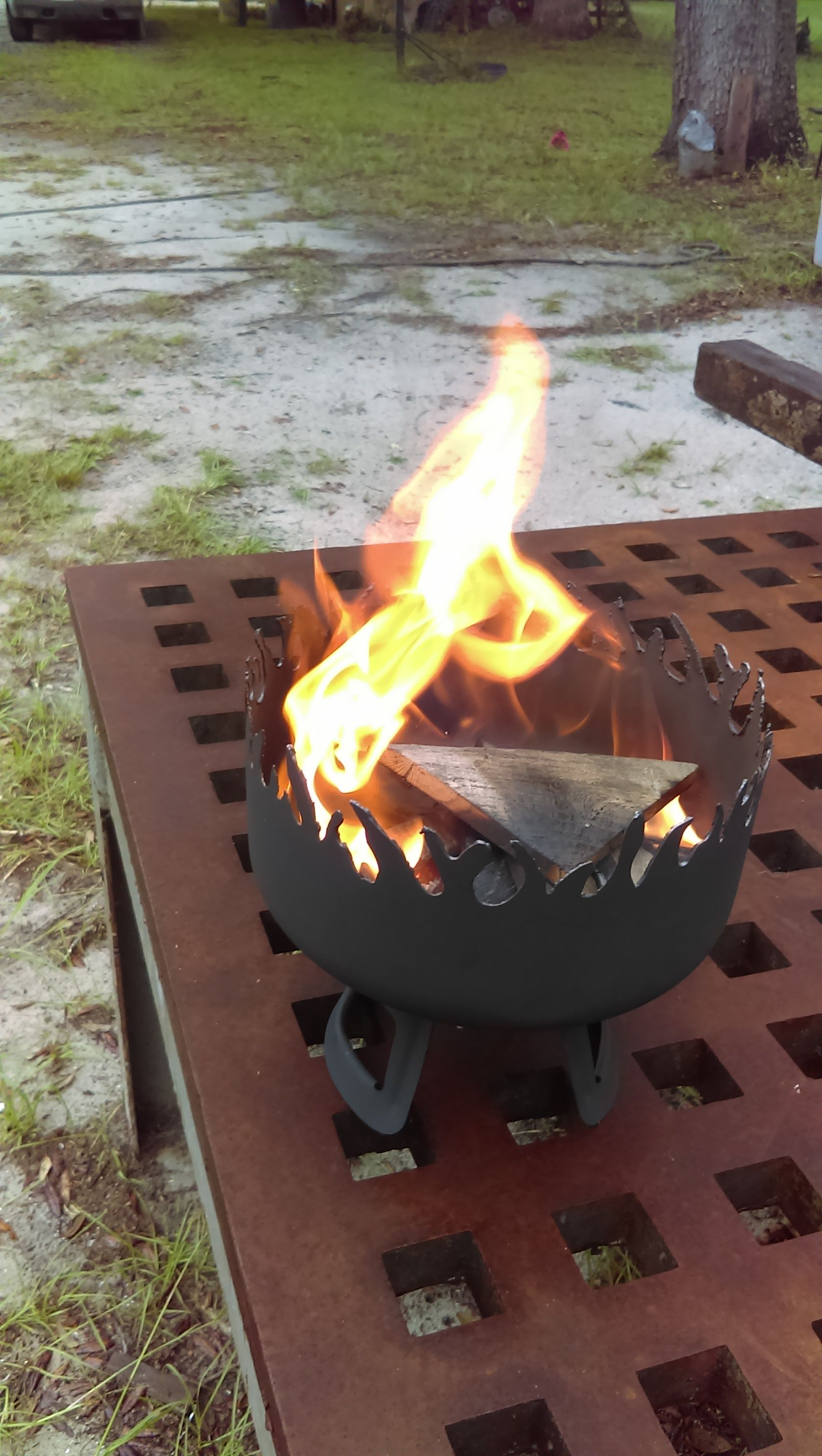 Mini Table Top Fire Pit For Roasting Marshmallows Or Hot Dogs