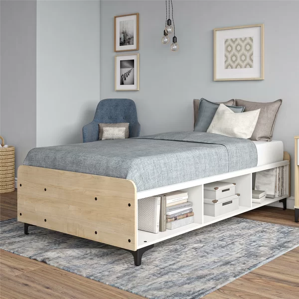 Karan Twin Platform Bed With Shelves Mebel Dizajn Doma Minimalistskaya Spalnya