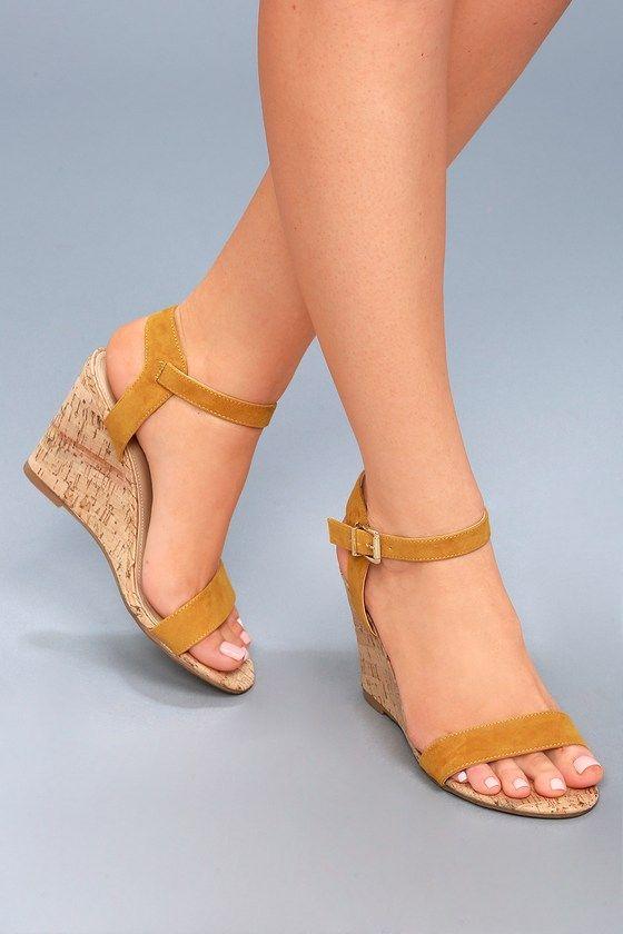 Lulus Whitney Mustard Suede Wedge Sandal Heels - Lulus GhKD3K9T9f