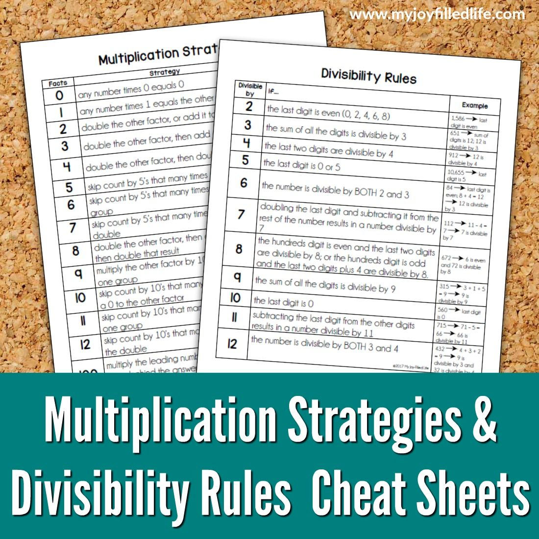 Multiplication Strategies & Divisibility Rules Cheat Sheets   Math ...