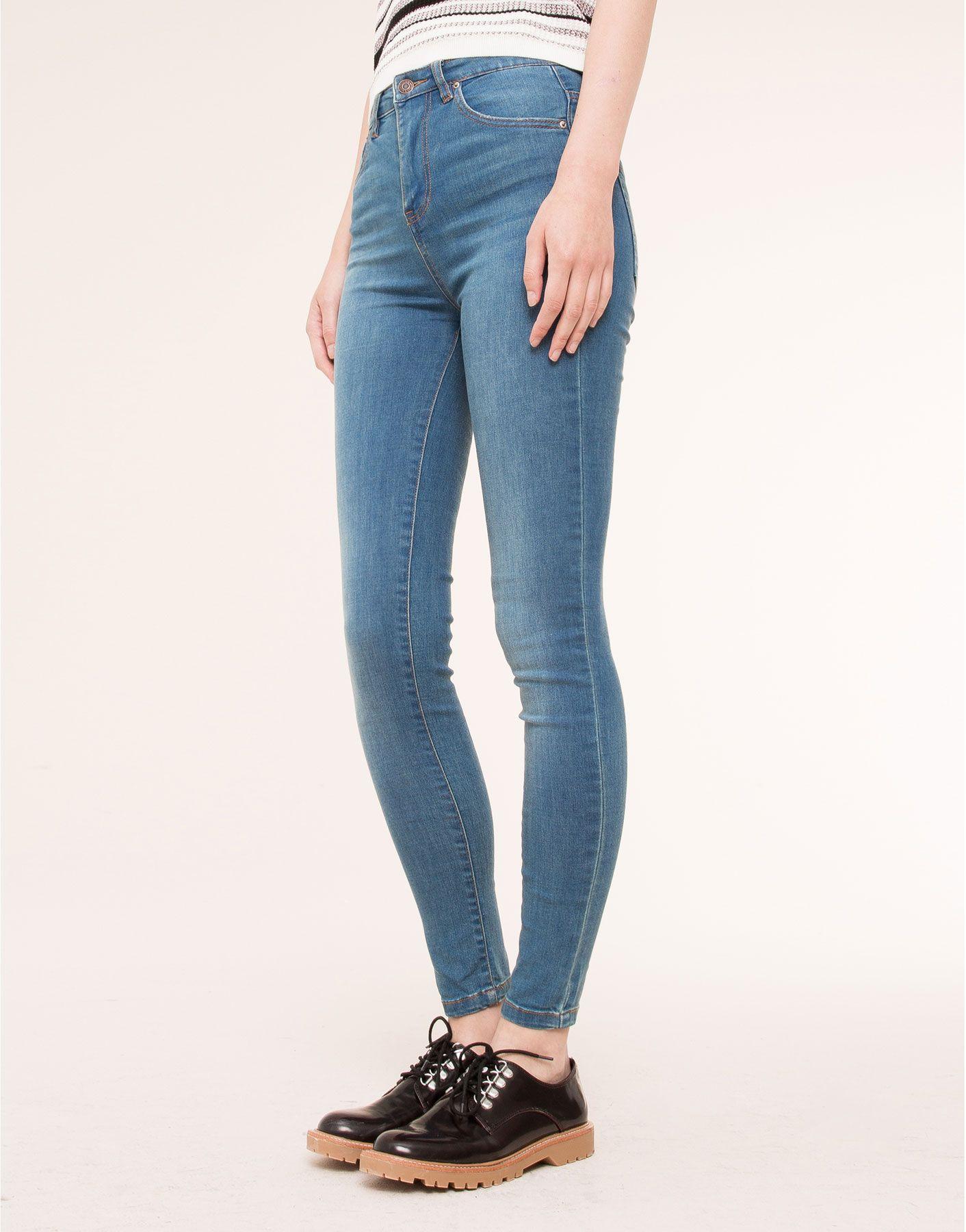 Jeans Skinny Tiro Alto Jeans Mujer Pull Bear Espana Vaqueros Mujer Pantalones De Mezclilla Ropa