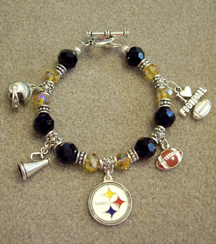 Pittsburgh Steelers Nfl Dangle Charm Bracelet With Swarovski Black Gold Crystals 36 99 Via Etsy
