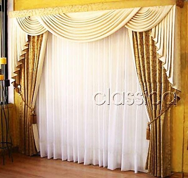 Cortina drapeada  Cortinas y Cenefas  Curtains Window