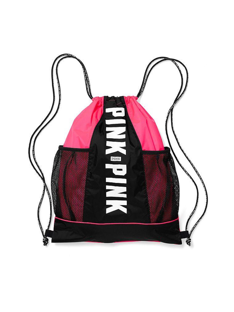 Mesh Pocket Drawstring Backpack PINK Victoria's Secret
