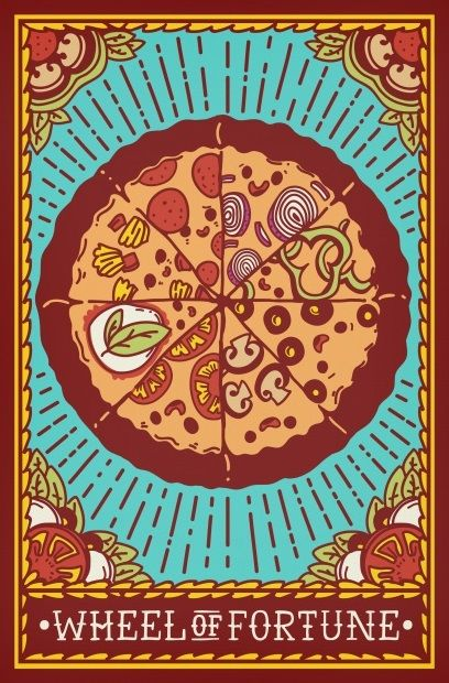 tarot fortune wheel pizza card food puns visit divine delicious