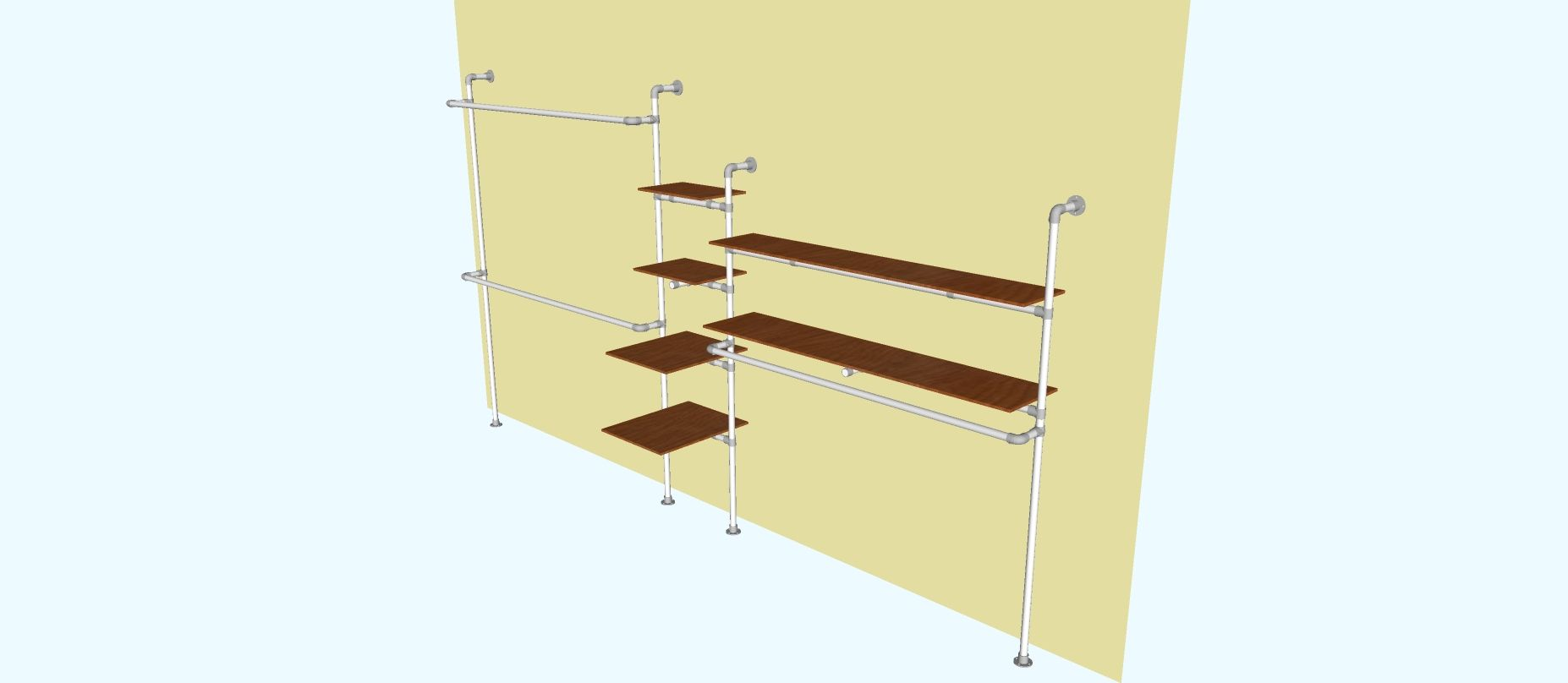 Wall and floor mounted clothing rack and shelves clothing rack