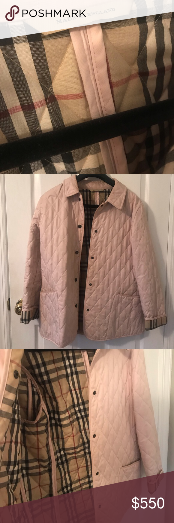 Light Pink Burberry Quilted Jacket With Images Burberry Quilted Jacket Quilted Jacket Quilted