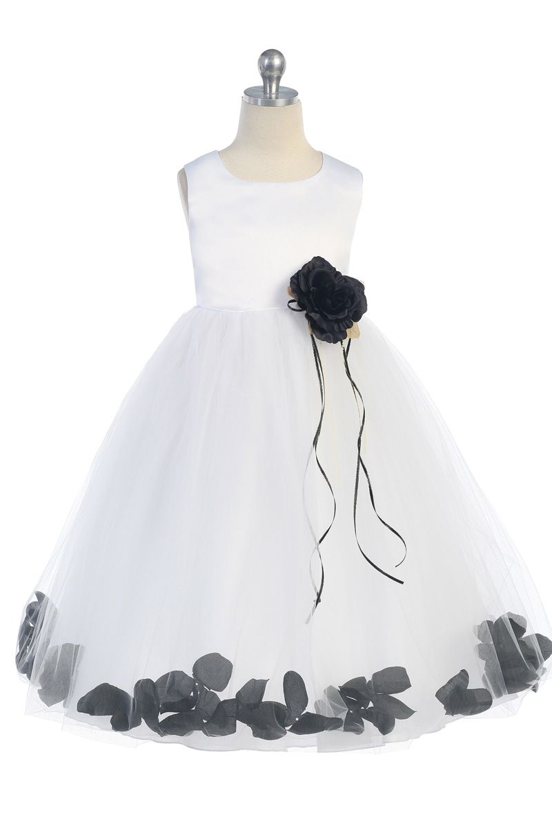 Whiteblack sleeveless satin flower petal flower girl dress whiteblack sleeveless satin flower petal flower girl dress k160b bk 3895 on girlsdressline mightylinksfo