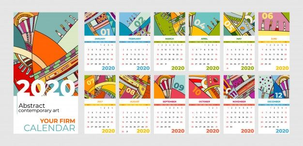 2020 Calendar Abstract Contemporary Art di 2020 | Kalender ...