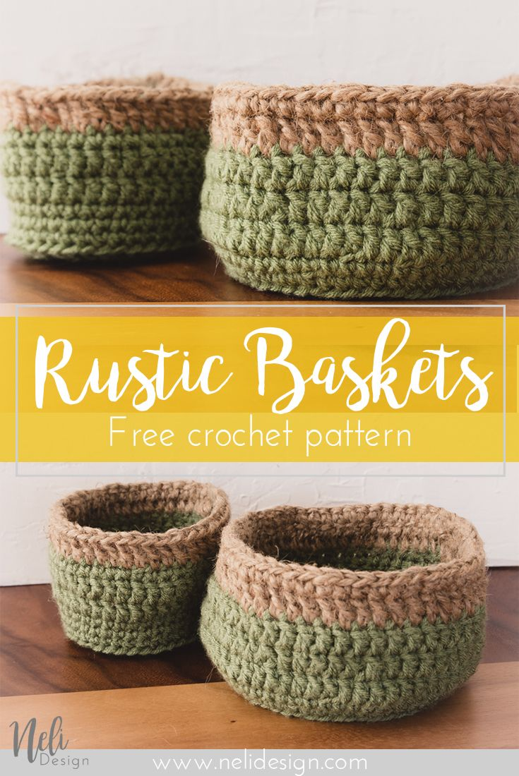 How to make affordable and rustic crochet baskets | Cestas ...
