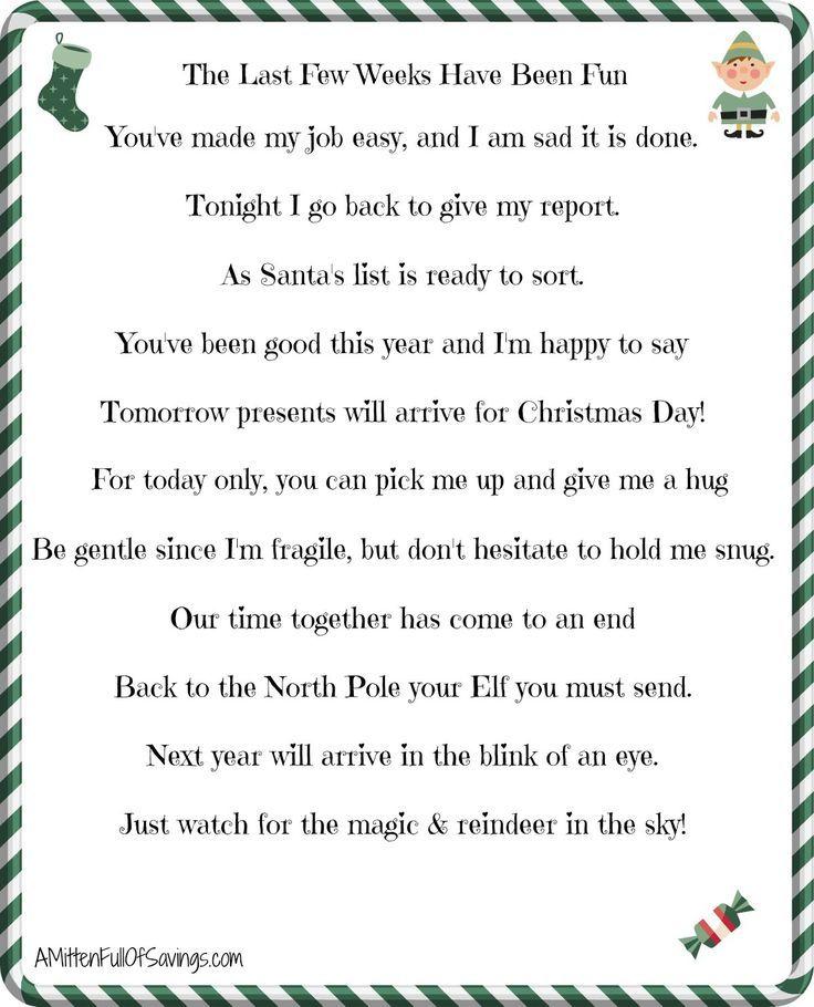 Elf On The Shelf Goodbye Letter  Goodbye  Welcome