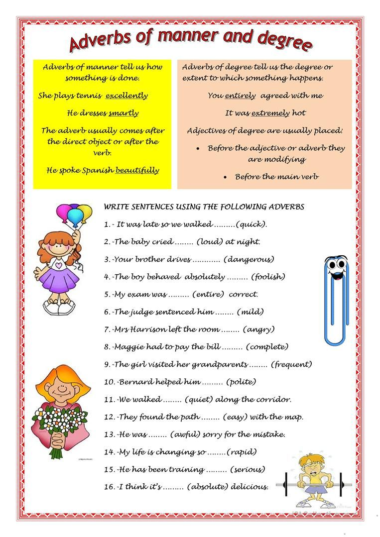 Adverbs Of Manner And Degree English Esl Worksheets Adverbs Teaching English Grammar English Grammar Worksheets