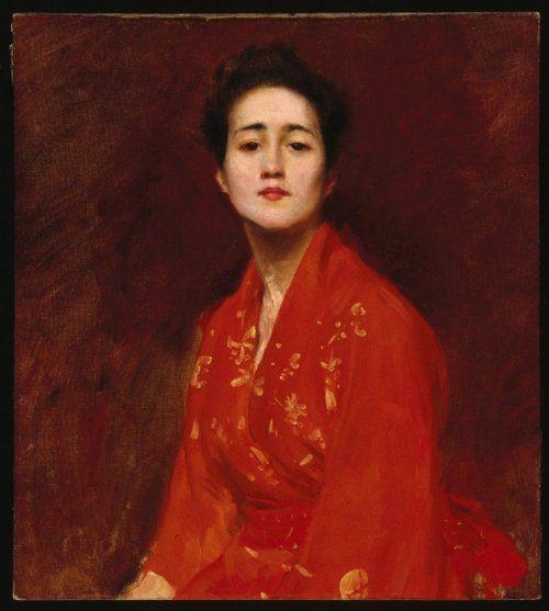 William Merritt Chase, Etude d'une fille Dans La robe japonaise, c.1895 (source).