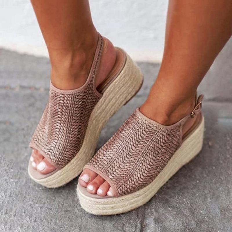 Women/'s Sandals Wedge Heels Ankle Strap Ladies Fashion Open Toe Platform Shoes