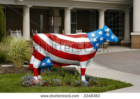 Painted like a flag | Side View Of A Cow Statue Painted Like An American Flag Stock Photo ...