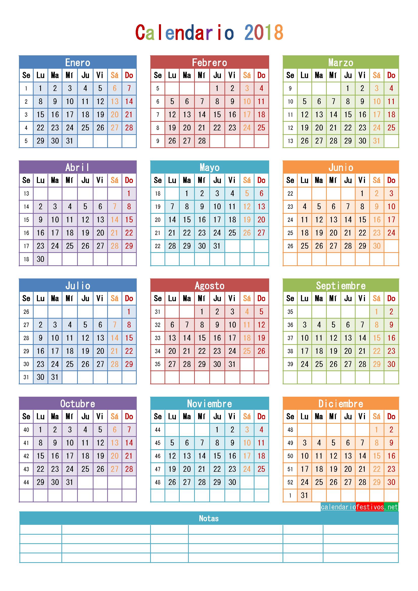 calendario 2018 para imprimir anual mensual escolar infantil y lunar
