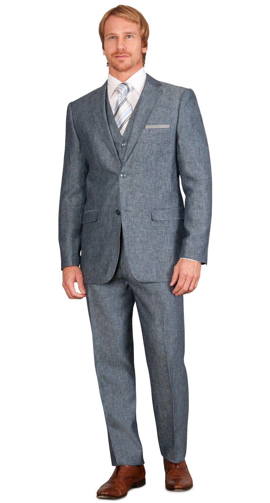 Chambray 2 Piece Slim Fit Linen Men's Suit -Dark Blue $298.00 ...