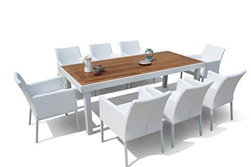 Maze Rattan 8-Sitzer Lounge Savage Teakholz und Aluminium Esstisch - lounge gartenmobel mit esstisch