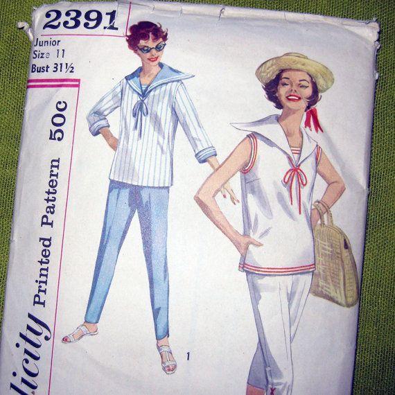 1950s Vintage Sewing Pattern - Sailor Suit Top and Cigarette Capri ...