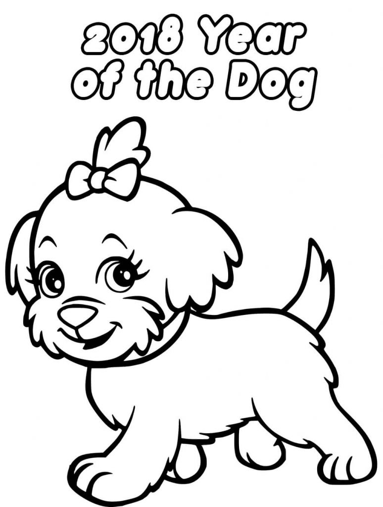 Printable New Year 2018 Coloring Pages Puppy Coloring Pages Dog