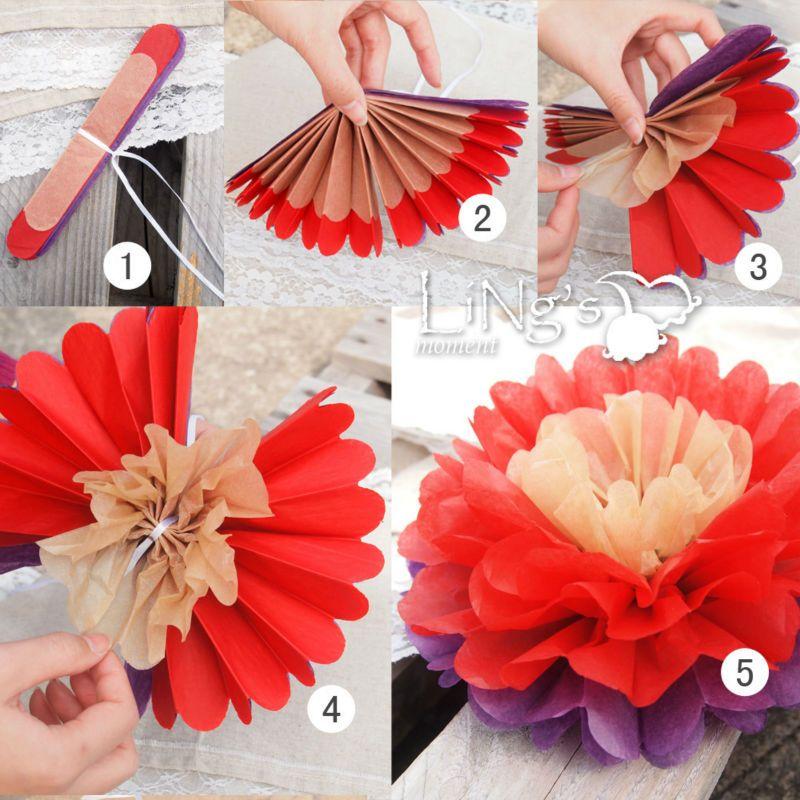 de ling flor de papel festa de casamento flores decor de tecidos pom poms decorao aniversrio - Flor Decor