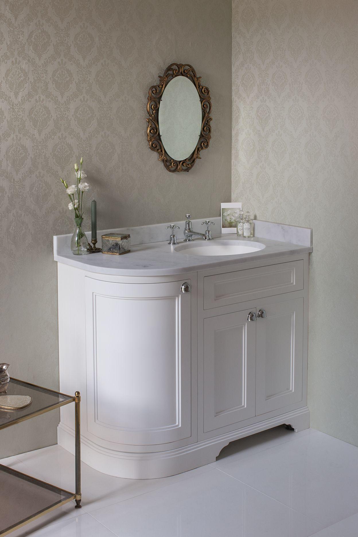 Freestanding 100 Rh Curved Corner Unit With Carrara White Worktop And Integrated White Basin Matt White Sku Fc3w Bc98r Cheap Bathroom Vanities Corner Vanity Unit Traditional Bathroom