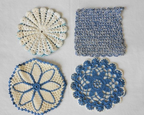 Lot of 4 Vintage Blue & White Hand Crocheted Pot by handmaidmarian