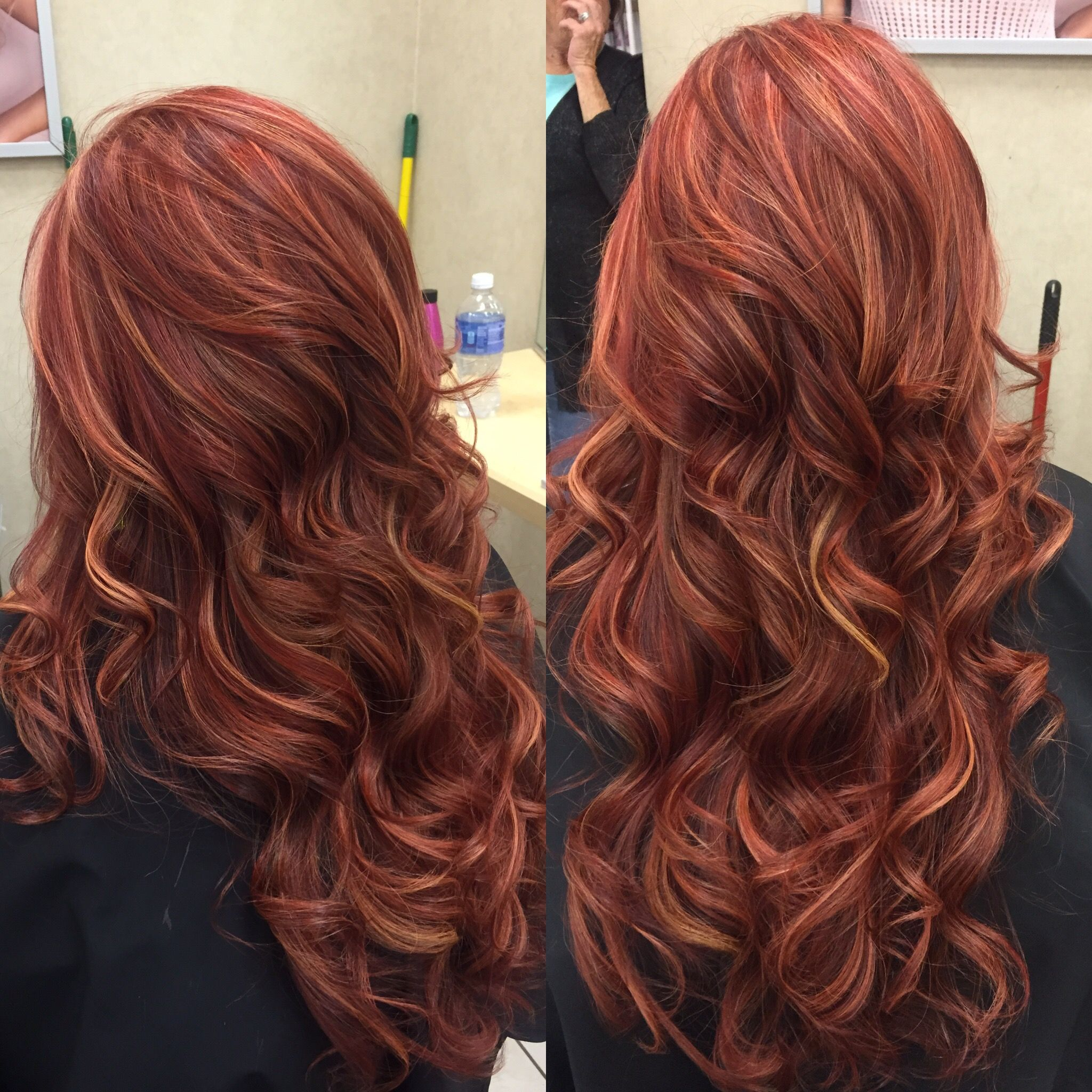 Red Base With Richer Red And Blonde Highlights Hair
