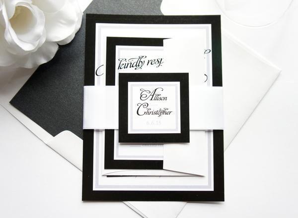Black and White Wedding Invitation - SAMPLE SET Ink color - sample general color chart