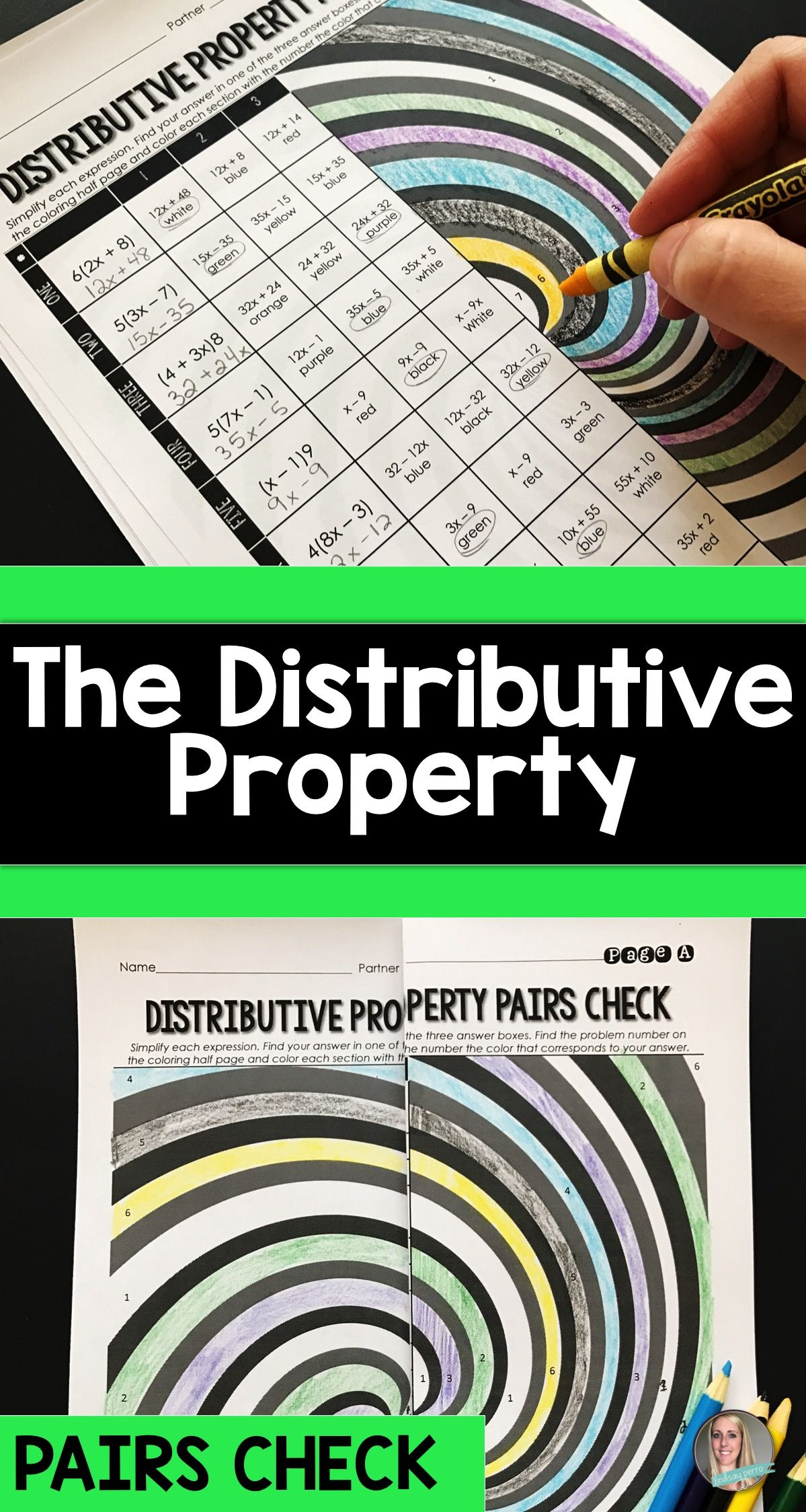 The Distributive Property Pairs Check Activity | Distributive ...