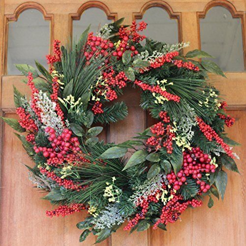 artificial christmas wreath door hanging holiday home entryway decoration berry