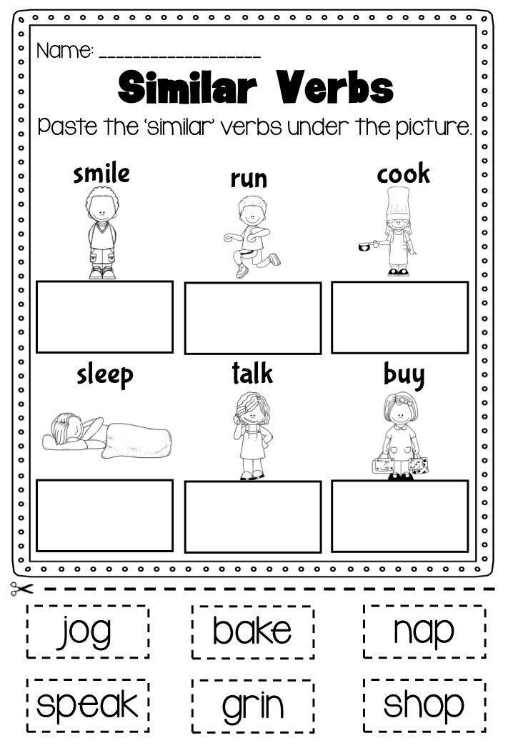 Verbs Printable Worksheet Pack Kindergarten First Second Grade