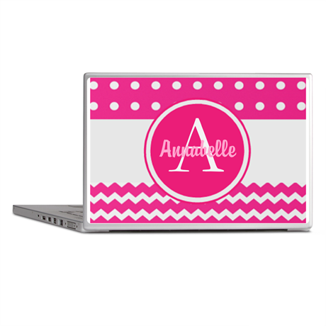 Pink Polka Dot Chevron Monogram Laptop Skins on CafePress.com