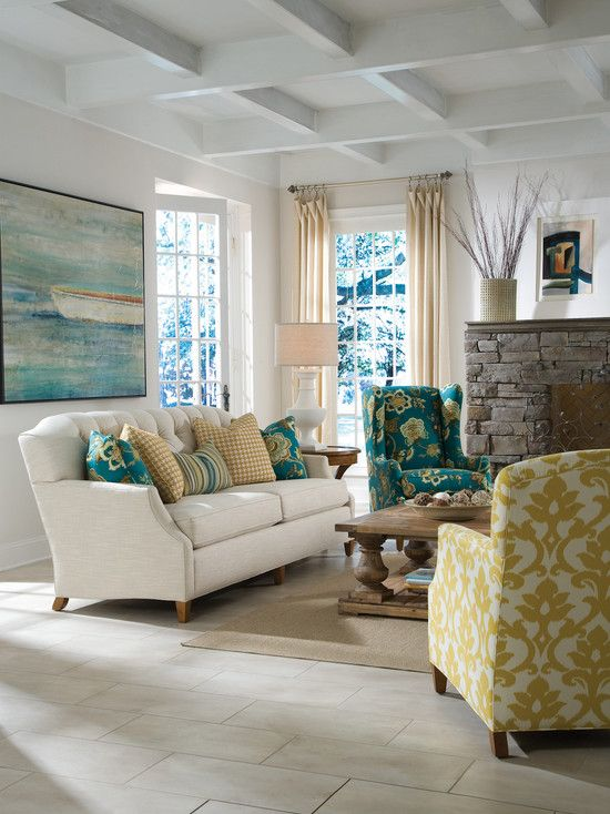 Living Room Squared Ceiling Beams White Couch White Walls Rectangle Stone Floor Tile Mu Traditional Design Living Room Living Room Remodel Home Decor #teal #and #white #living #room