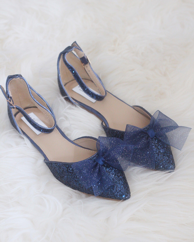 Women wedding shoes bridesmaid shoes navy blue rock glitter