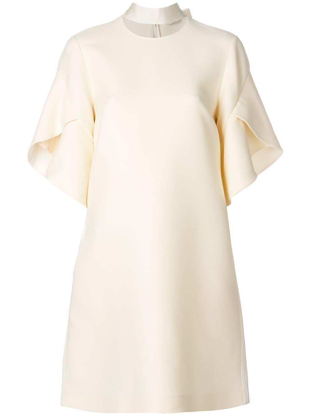 Fendi Collar Detail Flared Dress Farfetch White Short Sleeve Dress Fit N Flare Dress Floral Dresses Short [ 1334 x 1000 Pixel ]