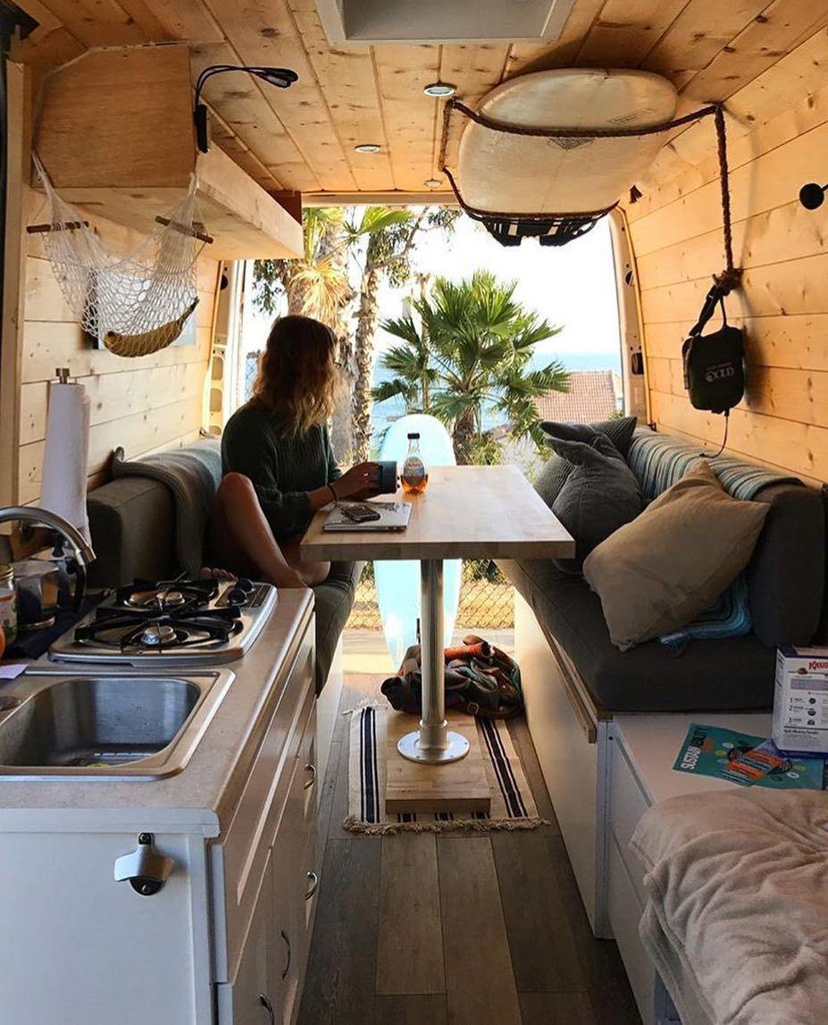 Outbound Living On Instagram Lunch Time In The Van Lifeultral Campervan Interior Camper Van Van Living