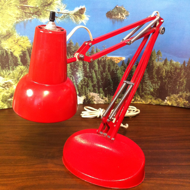 Vintage Red Lil Luxo Adjule Desk Lamp Norway Task Light With Base Retro Modern By Vintagebaron On Etsy