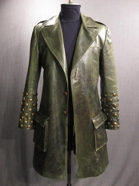 8f0d905f5a3 Green studded leather jacket trench coat | Joker Blackout | Green ...