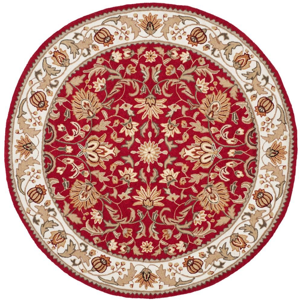 Safavieh Easy Care Red Ivory 6 Ft X 6 Ft Round Area Rug Ezc101c 6r The Home Depot Floral Area Rugs Area Rugs Wool Area Rugs