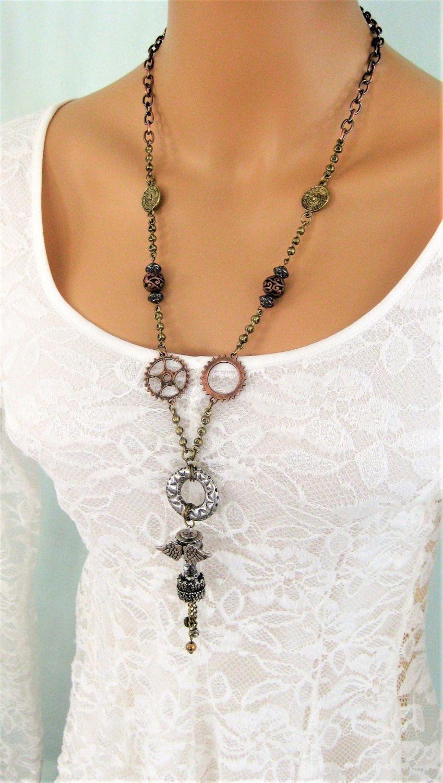 Steampunk pendant necklace steampunk jewelry long steampunk steampunk pendant necklace steampunk jewelry long steampunk necklace steampunk costume long pendant aloadofball Images