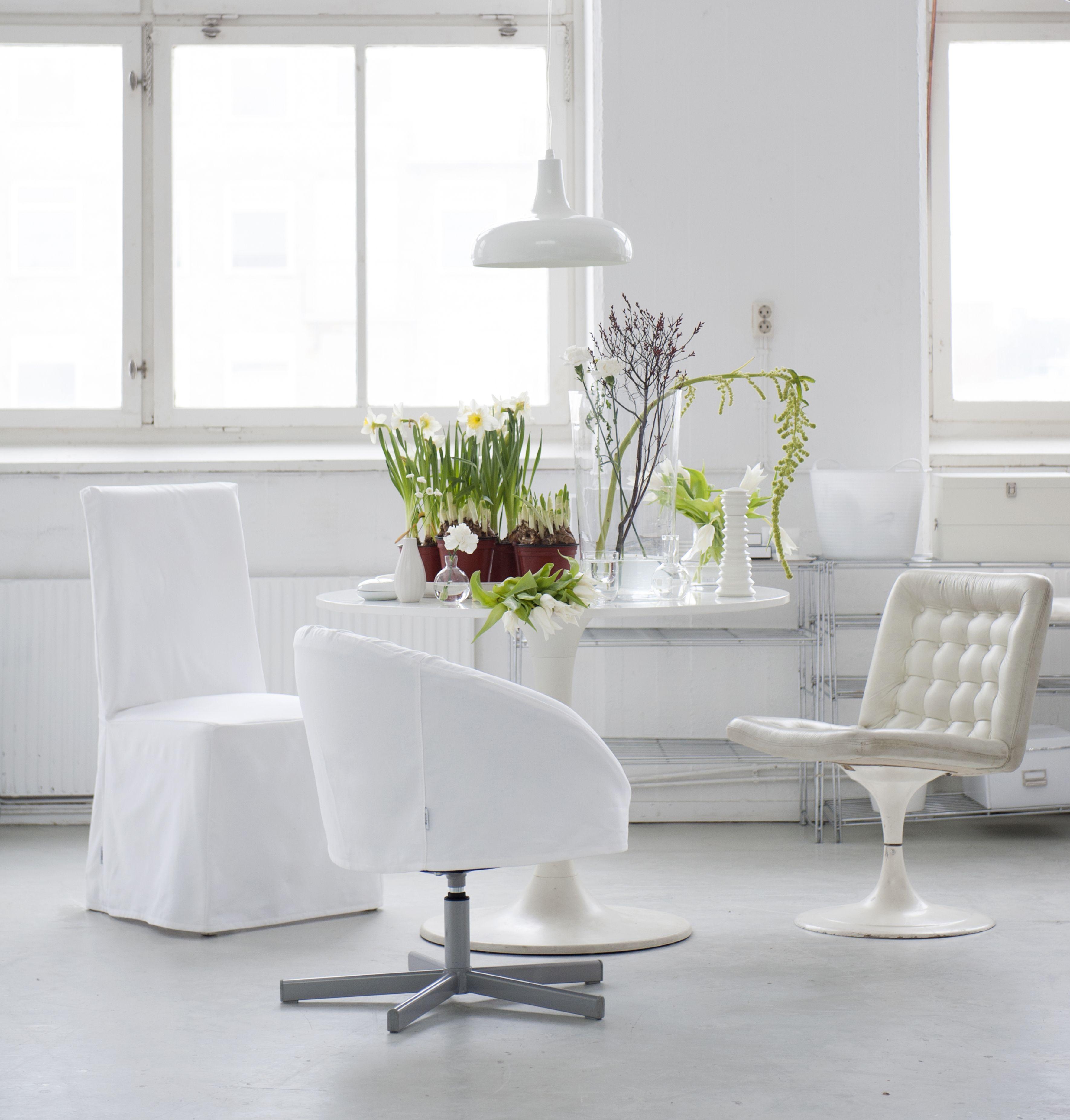 Skruvsta Swivel Chair Cover Chair Covers Bemz White
