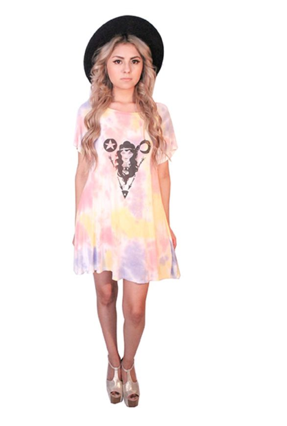 Boho tie dye local artist tshirt dress Sin Clarity Clothing sinclarityclothing.com
