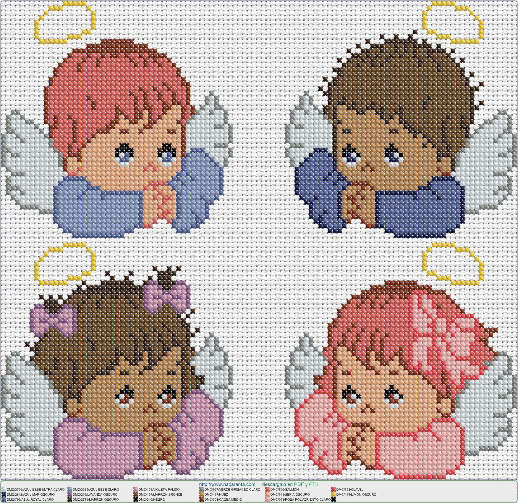 4 angelitos EN PUNTO DE CRUZ | Punto en cruz | Croix, Point de Croix ...
