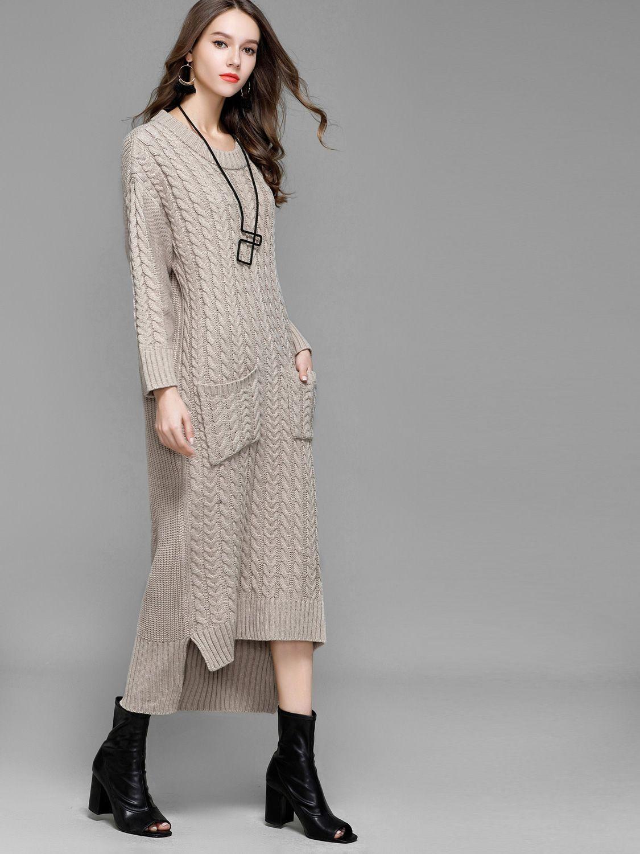 b4fb0c706ce Pattern Twisted Flowers Long Sleeve Sexy Sweater Woman Knitting Dress