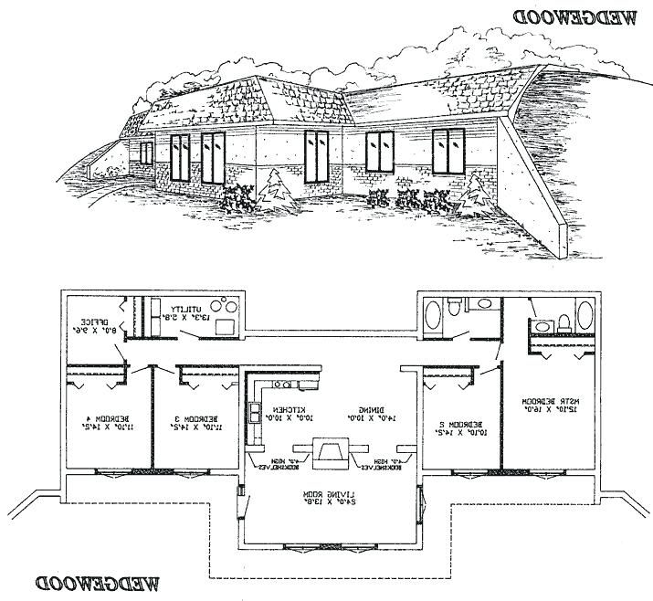 Berm Homes Floor Plan Remove Bedroom 3 And Make That Area Large Kitchen With Sink In Front Of Window Earth Sheltered Homes Underground Homes Earth Sheltered